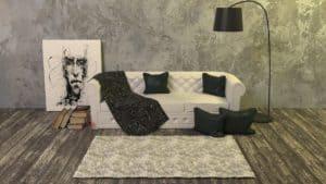 שטיח וספה לבנה